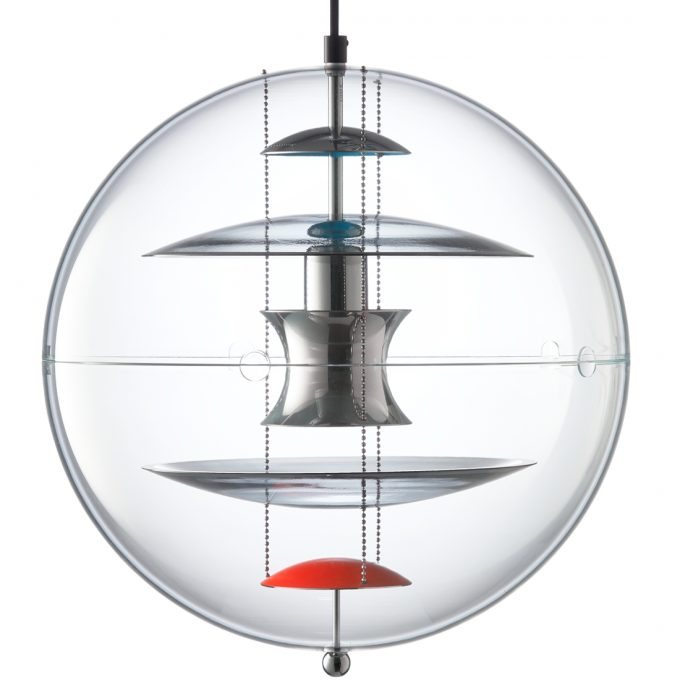 The VP Globe Coloured Glass by Verner Panton. This lamp is built today by Verpan from Denmark.